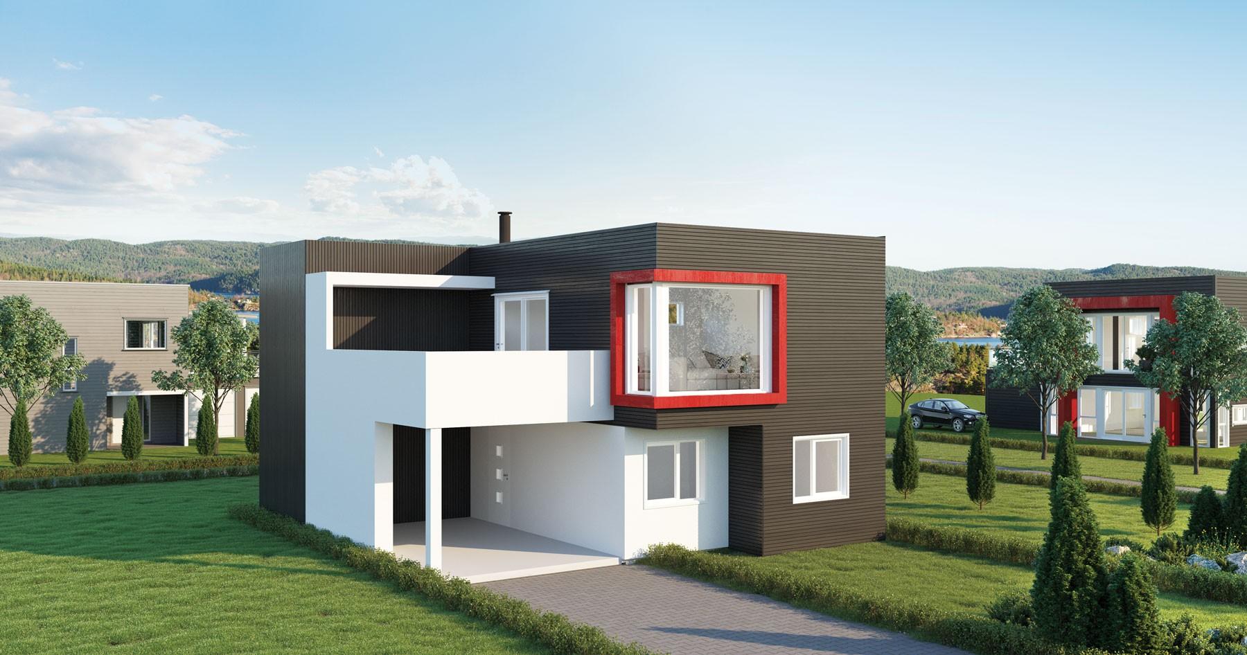 Arkitekttegnet hus skråtomt